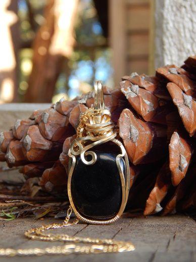 Silver Sheen Obsidian in 12K Gold