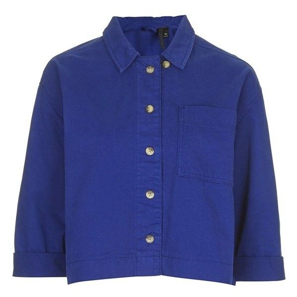 TOPSHOP Boutique Women's Topshop Boutique Blue Shirt ($43) ❤ liked on Polyvore featuring tops, crop tops, shirts, boxy top, three quarter sleeve shirts, topshop, blue shirt and boxy crop top