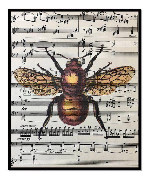 Honey Bee Art Print Dictionarty Art Print Bees Vintage Bee Prints