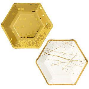 Sada 8 papírových talířů Hexagonal Gold