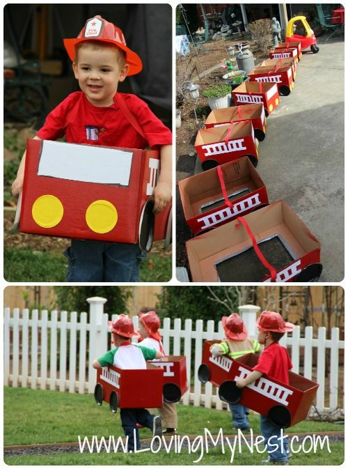 Fun  Creative Fire Truck Birthday Party Ideas ~ Including these DIY Fire Trucks... Cardboard box, red spray paint, black paper plates, some yellow and white paper, and a strap to hold it on . So much fun!