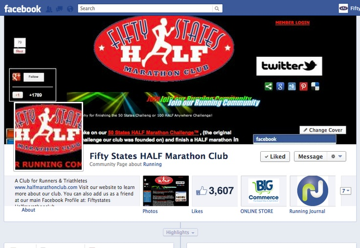 Come on over and join us at our Fifty States Half Marathon Club Facebook page  http://www.facebook.com/FiftyStatesHalfMarathon    Running, half marathon, half marathons, runners, half marathon club, running clubs:  Internet Site,  Website, Web Site, Runners Sites