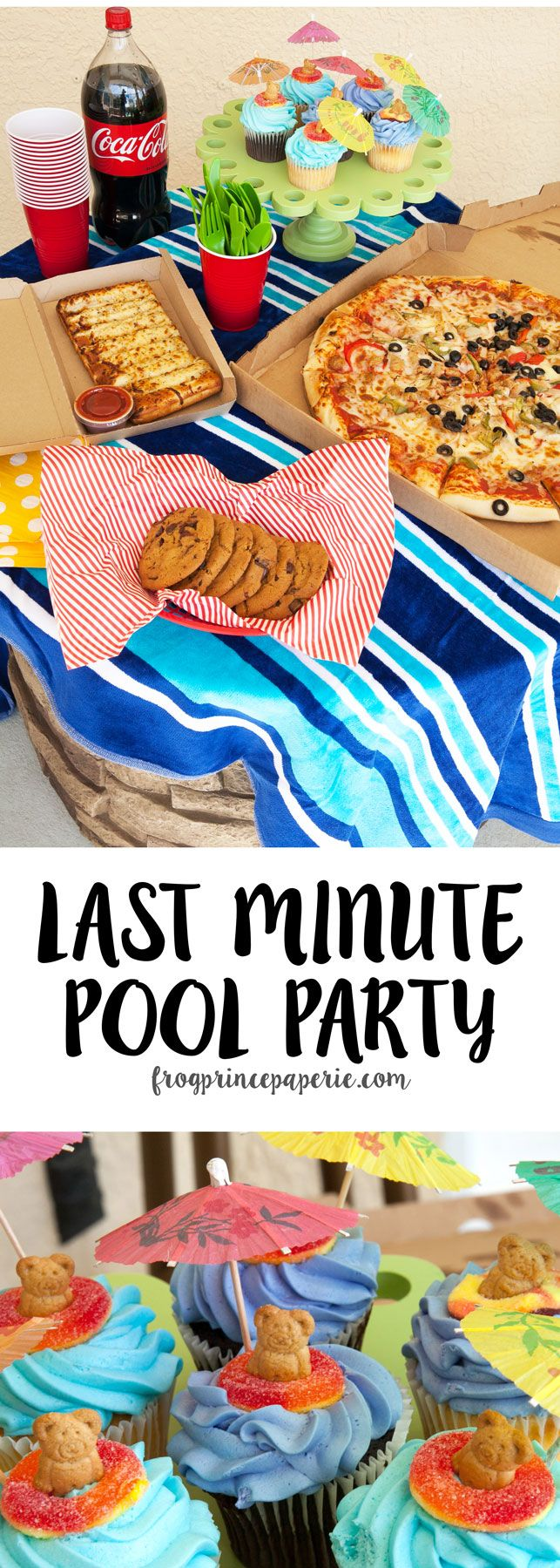 Throw a pool party in minutes with a little help from @samsclub and @cocacola ! Last minute entertaining is all about being easy--see some great pool party tips and how to make some really darling pool party cupcakes to top off your bash! #FamilyPizzaCombo #ad