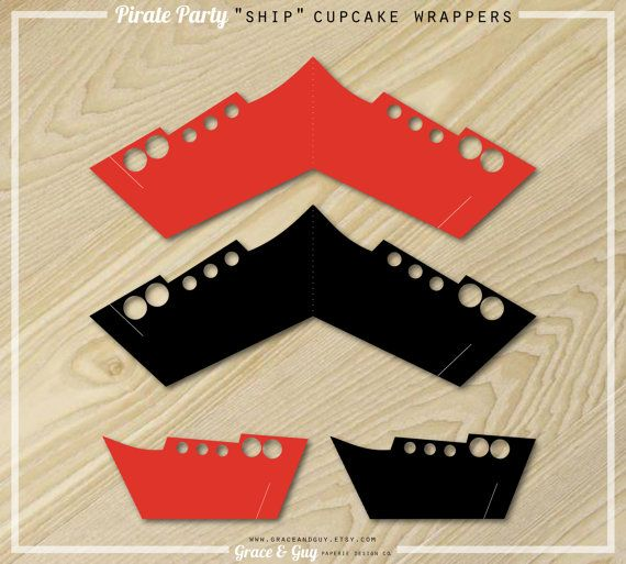 Pirate Party  Cupcake Wrappers  Pirate Ship Cupcake by GraceandGuy, $5.00