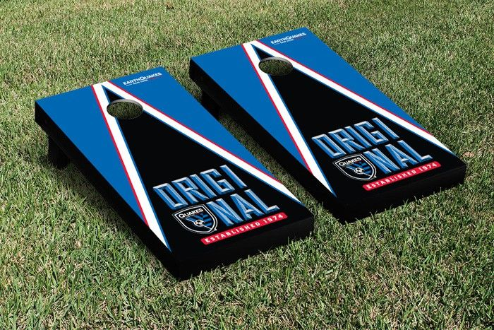Join the San Jose Earthquakes in their quest for power! The pyramid or triangle shape on this high quality cornhole game board signifies the quest to reach the highest level of competition.  San Jose Earthquakes Pyramid of Power Corn Toss Game