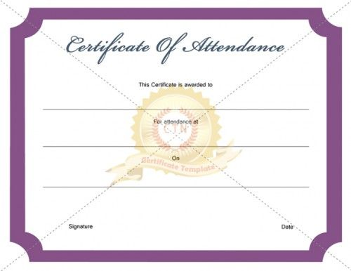 17 Best images about Certificate of Attendance – Attendance Certificate Template