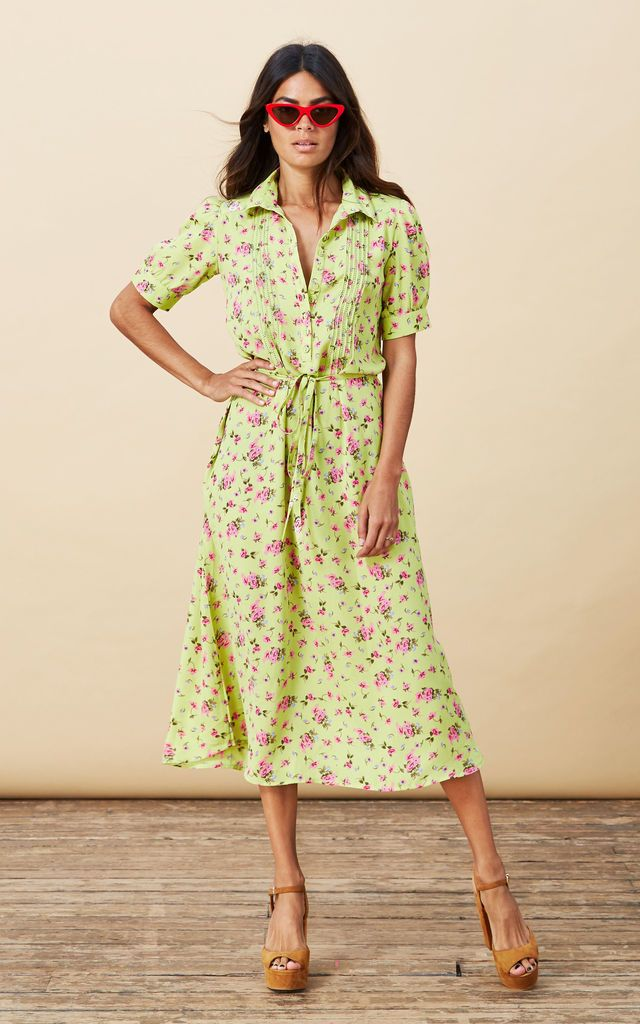 Click to view Amalia Dress in Lime Ditzy