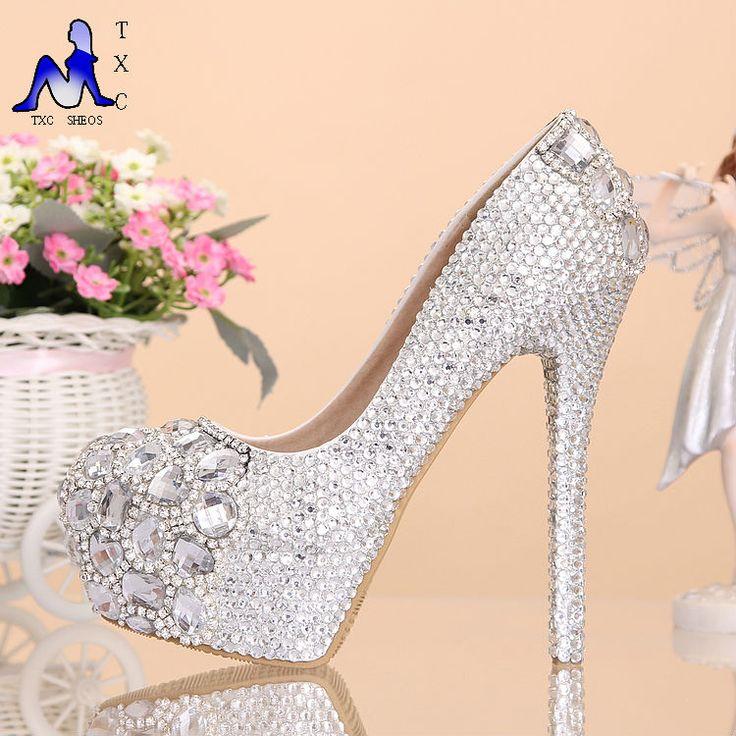 2016 novo e luxuoso de noite sapatos de plataforma prata sapatos de cristal vestido de festa de salto alto diamante sapatos de strass casamento festa Prom(China (Mainland))