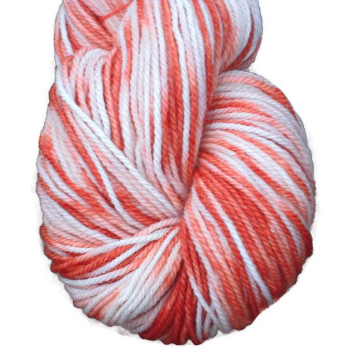 Handdyed Corriedale Wool DK weight Yarn, 4-ply, Christmas Candy Cane