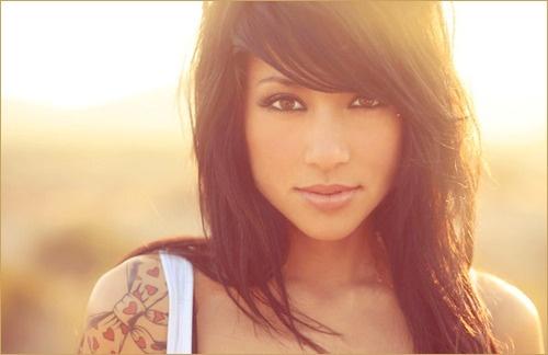 This is really cute!: Hairstyles, Dark Hair, Black Hair, Makeup, Beautiful, Side Bangs, Bows, Hair Style, Shoulder Tattoo