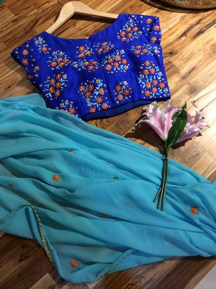 SC-S260 : shades of blue!!!!! Saree and blouse!!Issa Studio can customize the colour size as per your requirement.To order please call/ WhatsApp on 9949944178 or mail @ issadesignerstudio@gmail.com 28 April 2017