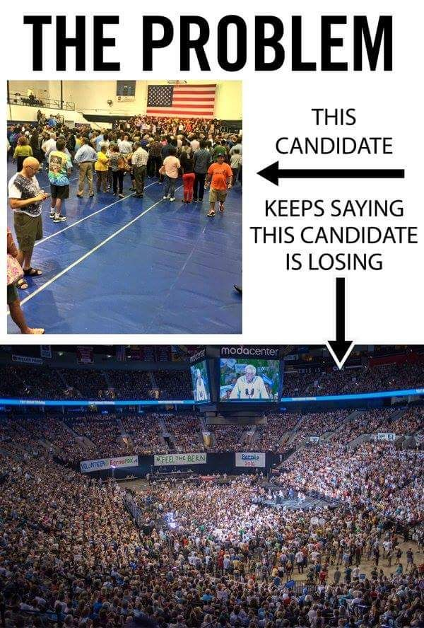 The liberal media would have us believe that Hillary is winning in a landslide. You can bet that Mr. Trump hasn't hired any actors to fill the space, as Killary has. She couldn't even fill a high school gym. Put Killary in prison where she belongs and let Mr. Trump Make America Great Again 2016!