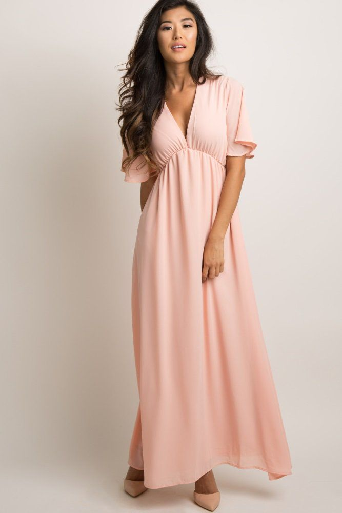 48c1af56cfc Solid chiffon maxi dress. Cinched under the bust. Short bell sleeves.  V-neckline. Double lined to prevent sheerness. This style was created to be  worn ...