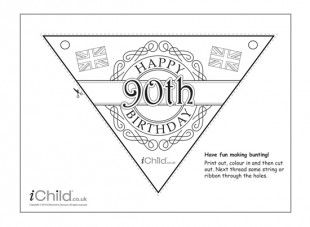 Children can have fun colouring in this party bunting, then display it to celebrate the Queen's 90th birthday!