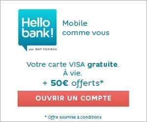 Hello Bank! la banque en ligne du groupe BNP Paribas, propose la carte Visa gratuite à vie ainsi qu'un bonus de 50 euros offerts à l'ouverture du compte...