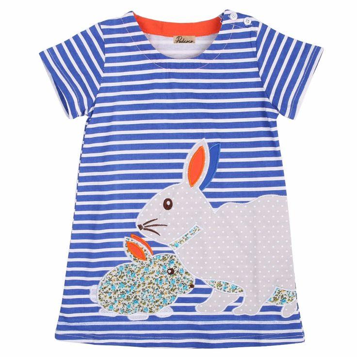 Children Clothes summer Kids Baby Girls Cute 2-7Y short-sleeved striped bunny rabbit princess dress Girls dresses