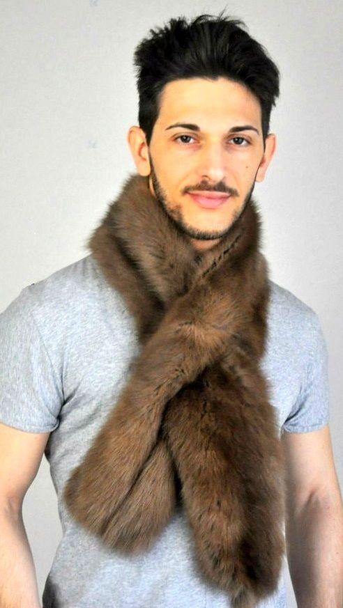 Authentic sable fur scarf for men  www.amifur.co.uk