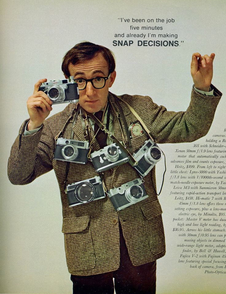 Woody Allen Poses with a Bunch of Rangefinders for Playboy, May 1966.    I am so jealous !!!!