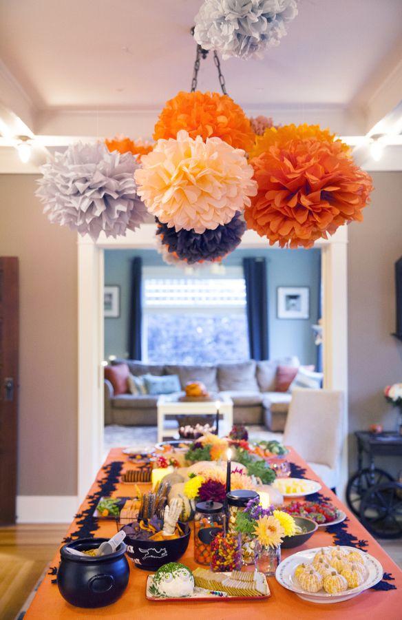 ez fluff 8 orange tissue paper pom pom flowers hanging decorations 4 pack - Halloween Pom Poms