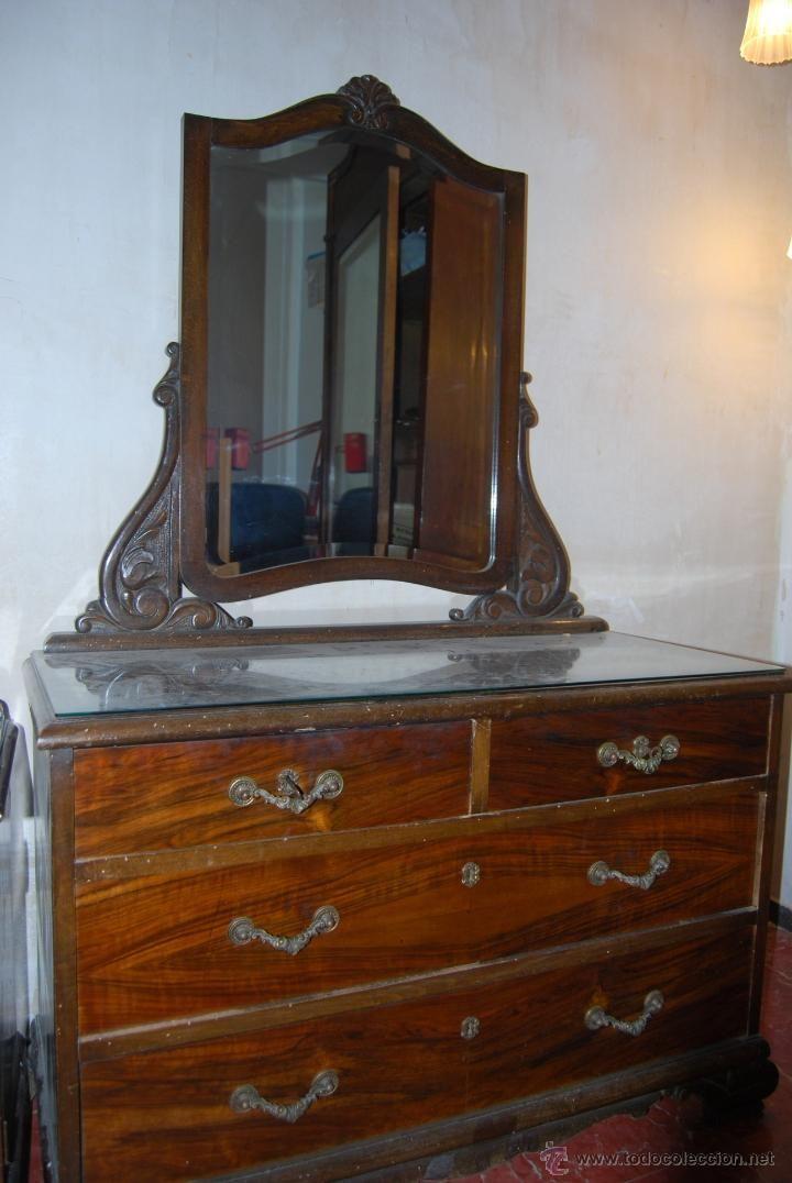 Antigua c moda coqueta o tocador con espejo a os 40 tipo art d co bien conservada 171 - Comodas originales ...