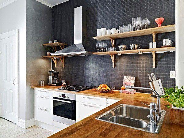 Кухня без верхних шкафов – дизайн, декорирование, материалы