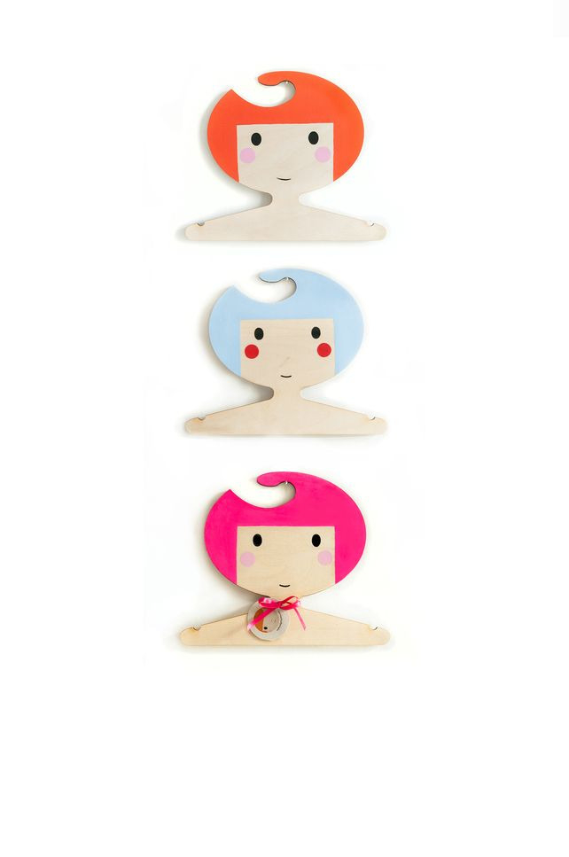 Children's pink haired, girl shaped wooden clothes hanger | red hand gang