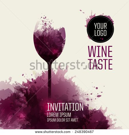 Invitation template for event or party. Suitable for tasting events or wine presentation. Artistic design background with stains. Vector - stock vector