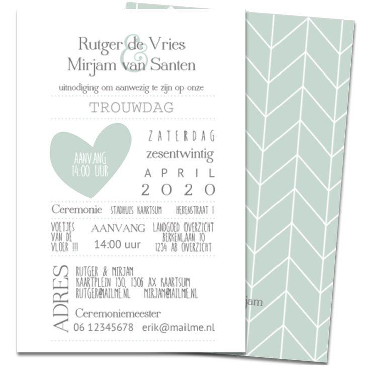 Hippe enkele trouwkaart met streep dessin