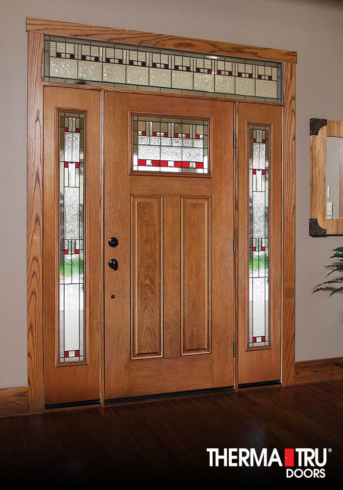 Therma tru fiber classic mahogany collection door with for Therma tru entry doors