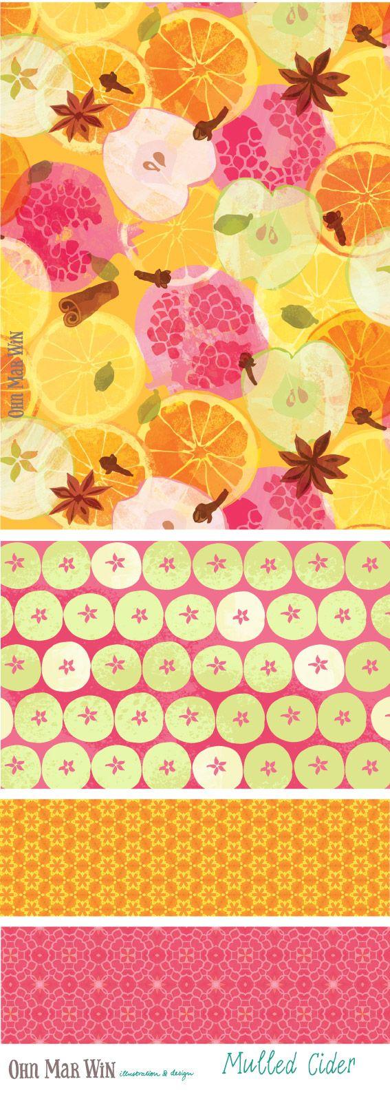 FOOD & DRINK — Ohn Mar Win Illustration Mulled cider wine pomegranate apple spices Fall harvest Food illustrator