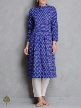 Blue-Ivory Handloom Ikat Cotton Pleated Kurta by Jaypore