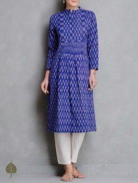 Blue-Ivory Handloom Ikat Cotton Pleated Kurta by Jaypore