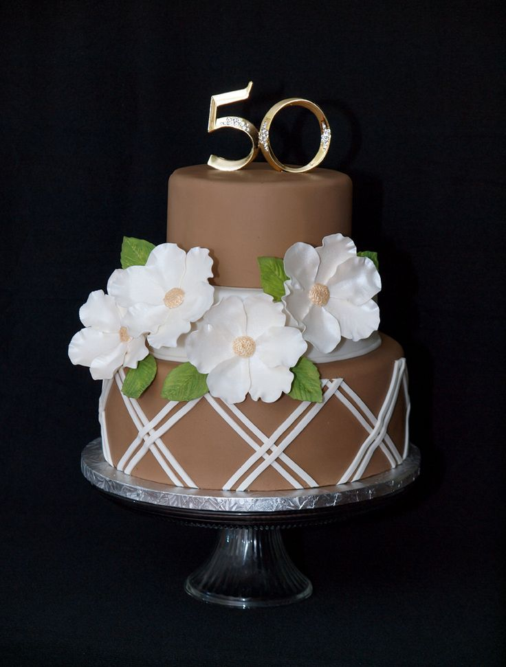 - 50th Anniversary cake. Cake design inspired by SugarCreations.  Inside is a chocolate sponge with buttercream and choc ganache. Yum!
