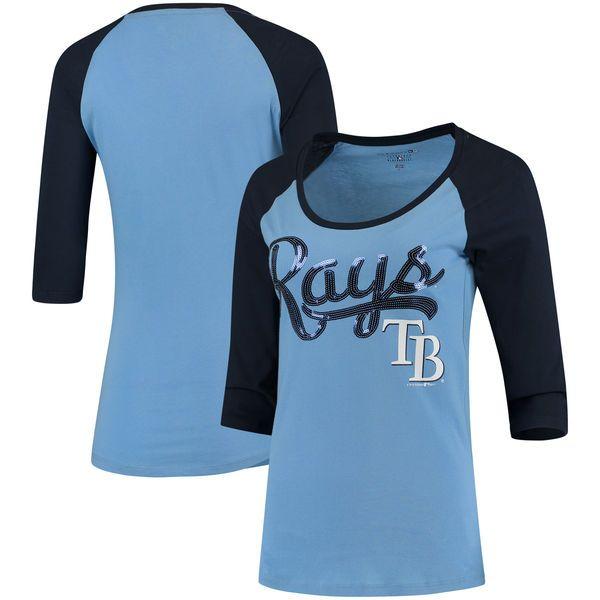 Tampa Bay Rays 5th & Ocean by New Era Women's Baby Jersey 3/4-Sleeve Raglan T-Shirt - Light Blue/Navy - $29.99