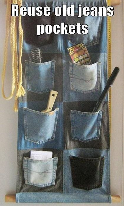 How you can reuse old jeans pockets