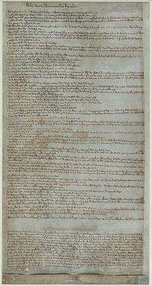 Magna Carta —Les Articles des barons, aujourd'hui à la Bibliothèque britannique.