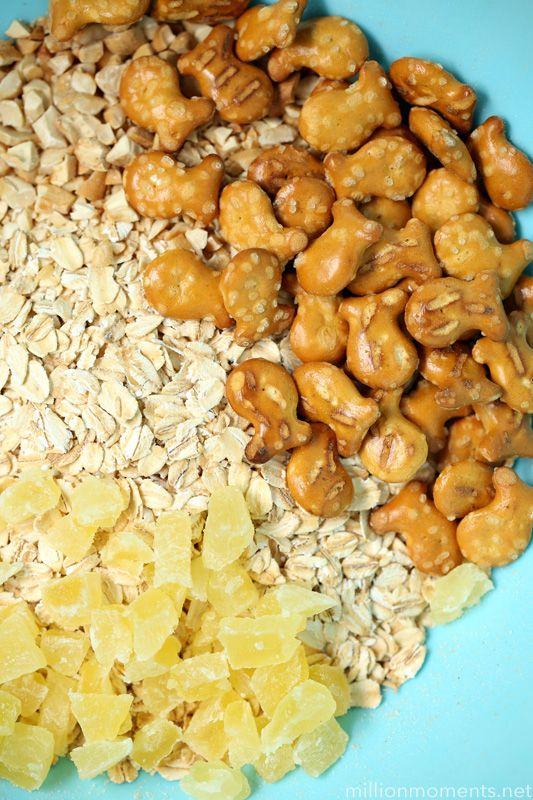 Homemade granola Goldfish pretzel trail mix