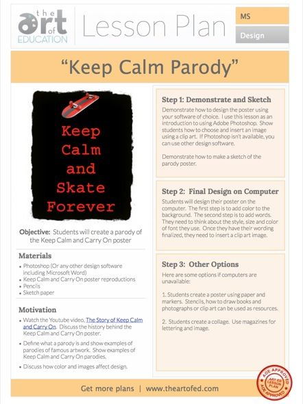 Keep Calm and Carry On Poster: Free Lesson Plan Download | The Art of Ed