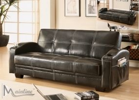 Black Cabriolet  Faux Leather Sofa Bed with Storage and Cup H