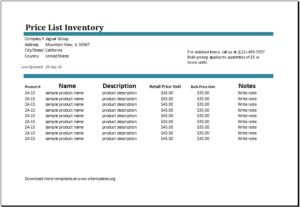 Price list inventory DOWNLOAD at http://www.templateinn.com/11-list-templates-to-download-for-excel/