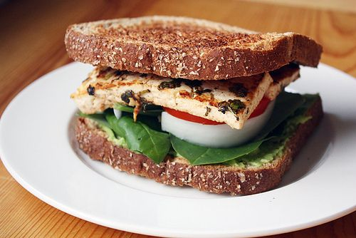 cilantro-lime tofu sandwiches: marinate extra firm tofu in cilantro, lime, garlic, olive oil for up to 3 hrs before pan-frying or grilling (no extra oil needed).