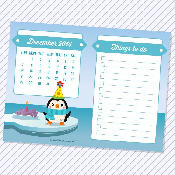 """Yay, it's a penguin party! Fish """"cake"""" for everyone! Each mini calendar comes with a built-in 'To Do List', which can be kept whole or cut apart. Trim these minis in half and place in a 4 x 6 frame..."""