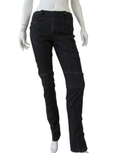 International Designers Clothes  Washed-out black stretch jeans, slim fit, with particular stitched strech bands, decorative seams, welt pockets with zips, decoration of strings in front with buttons. Old Price EUR 544.00 New price is EUR 218.00 Read more: http://bit.ly/1jFboZG  #Italian #Pants for women