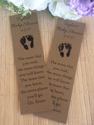 Personalized Bookmarks, Baby Shower Bookmark Favors, Baby Shower Favors, Baby  Shower Book Favors, Footprint Baby Shower Favors, Library Baby