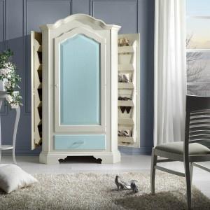 Armadio portascrape ad 1 porta +  1 cassetto, laccato bianco/azzurro in faggio  massello, maniglia swaroski.  Misure: L 111 P 61 H 198