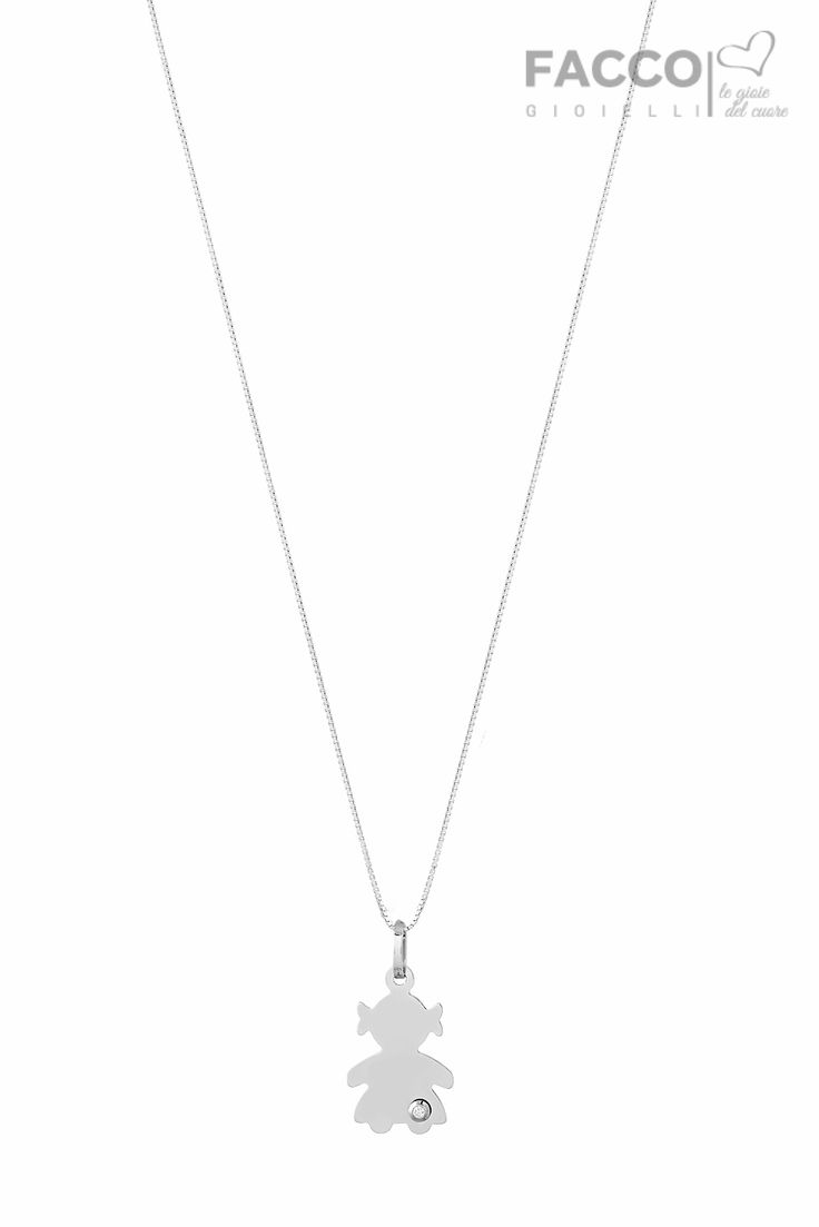 Collana mamma, Facco Gioielli, in oro bianco 750‰, medaglia bambina con diamante ct 0,01.