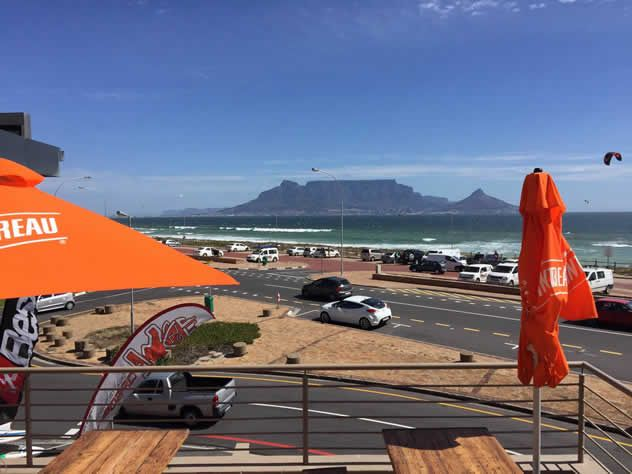 A view of Table Mountain outside at Jerry's Burger Bar in Blouberg. Photo…