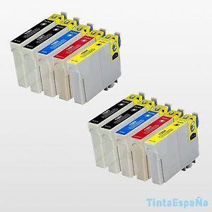 a 10 cartuchos compatible nonoem epson t1285 stylus s 22 sx 125 sx 130 sx 420w