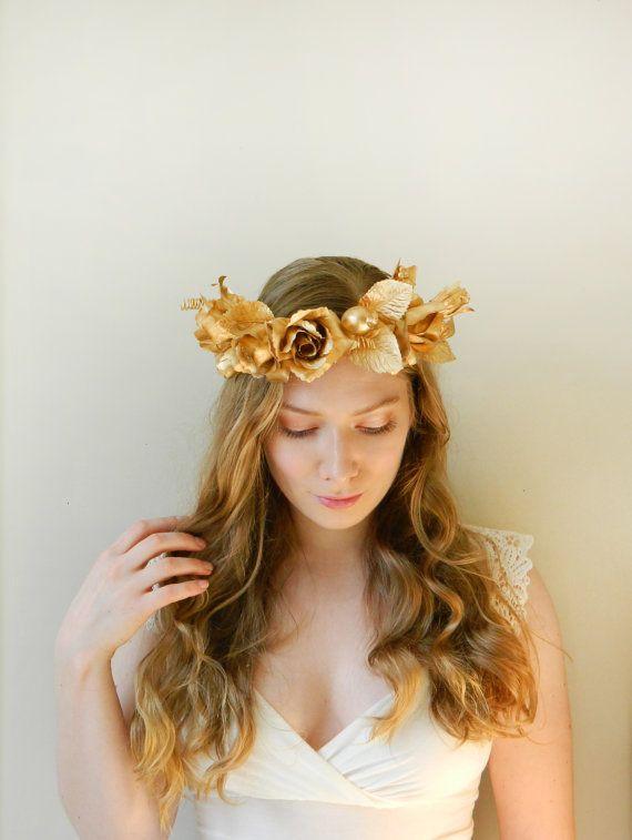 Golden Goddess Headpiece Rustic Faerie Hair By