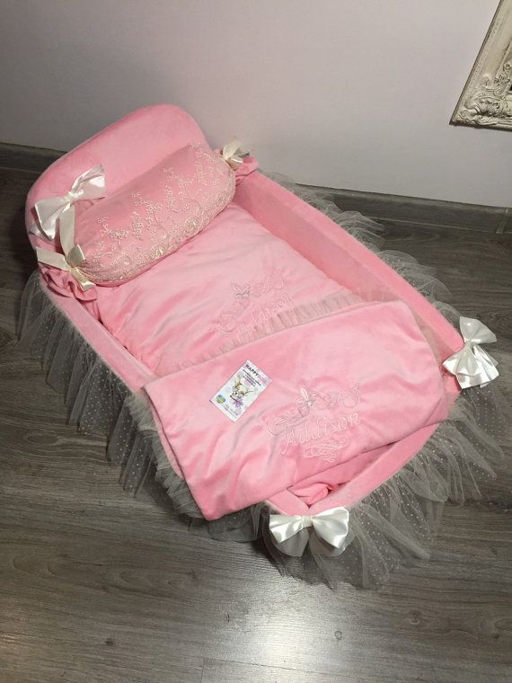 Pink dog bed with lace and tulle TuTu Designer dog by AnnaHappydog